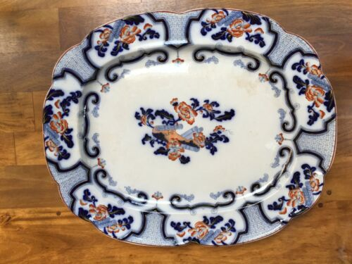 "Antique English Ironstone IMARI 24"" Oval Serving Platter"