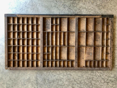 Antique Letterpress all wooden TYPE TRAY w/ raised front lip