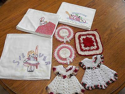 Vtg Lot Embroidered Dish Towels Crochet Knit Pot Holders 8 Piece