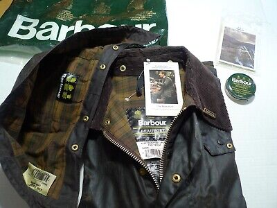 BARBOUR -A190 BEAUFORT WAX COTTON JACKET &  HOOD -NEW OLD STOCK  -MADE IN UK-50