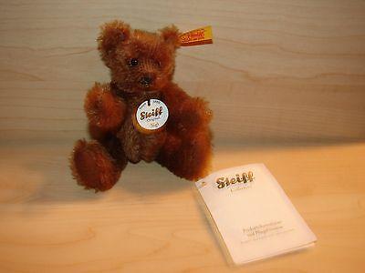 "STEIFF - MINIATUR-TEDDY BRAUN ""SIGI"" 12 CM GROß  MIT FAHNE"
