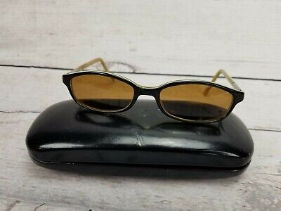 Vintage Gucci Black Yellow Frame Womens Eyeglasses Sunglass GG1193 w/ Case