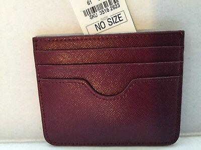 NEIMAN MARCUS Small Saffiano Flat Card Case Leather.Wine. $30.00
