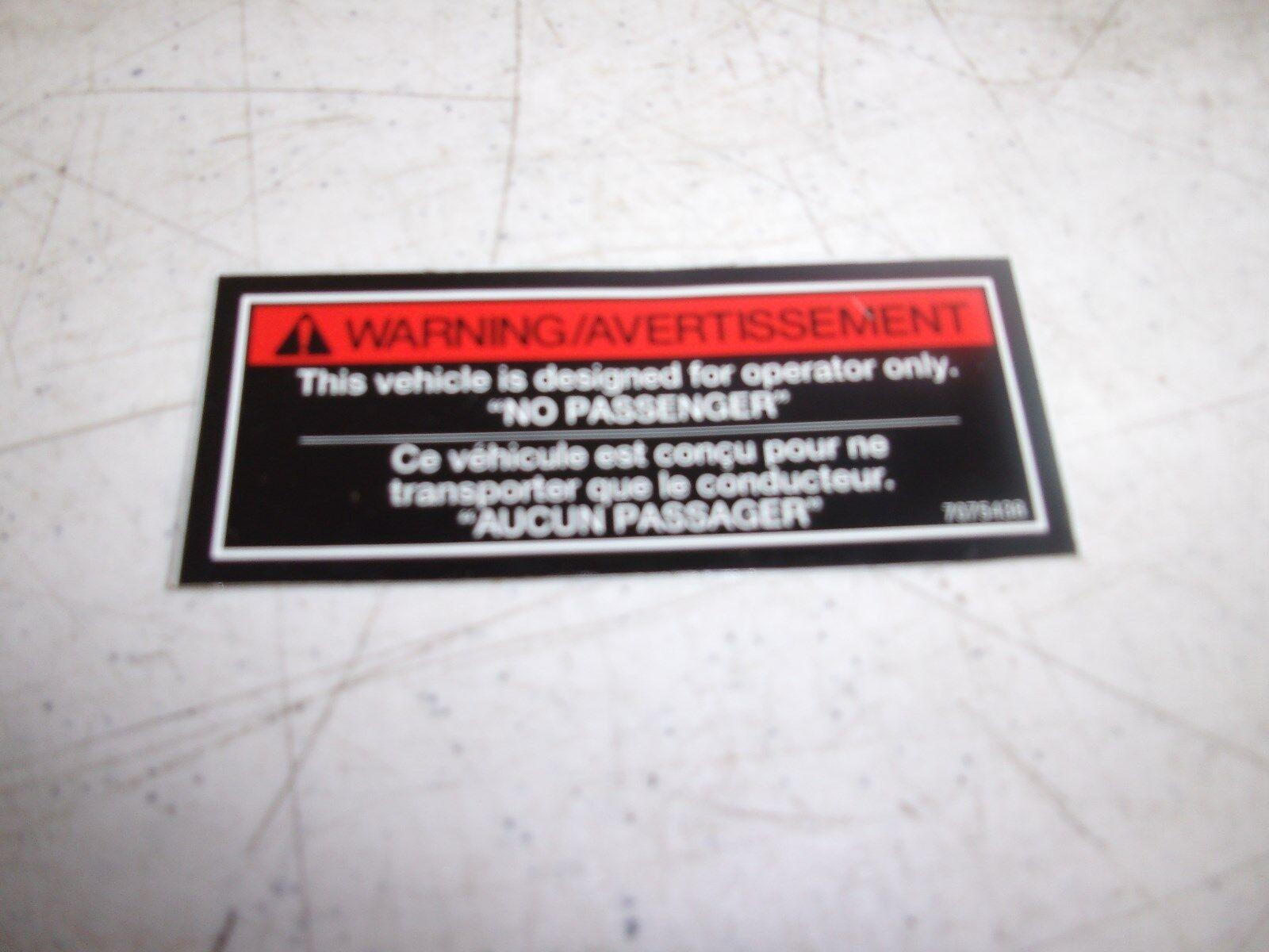 Polaris Snowmobile Decal 7075438 No Passenger Warning
