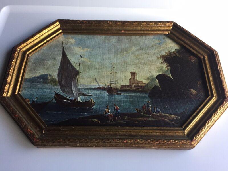Vintage Ocean Coastal Scene Florentine Ships Print Gold Gilt Wood Framed 13.5x9