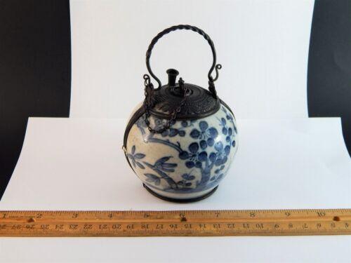 Antique Chinese Blue White Porcelain Metal Mounted Opium Jar Burner 19th C