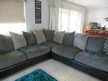 Black leather modular with grey fabric seating and cushions Angle Vale Playford Area Preview