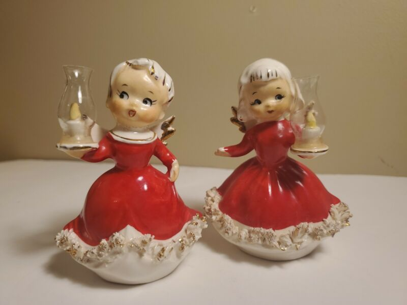 Vintage Christmas Spaghetti Angel Girls With Lanterns Japan