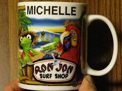 MUG RON JON SURF SHOP COCOA BEACH FLORIDA PERSONALIZED MICHELLE TROPICAL THEME