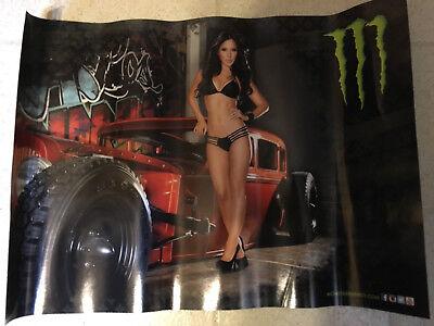 Sexy Girl Dorm Poster Monster Energy Drink Red Hot Rod bikini