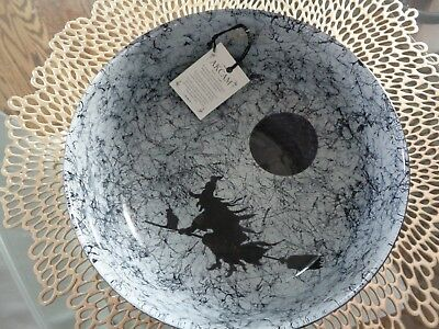 AKCAM TURKISH GLASS HALLOWEEN FLYING WITCH BROOM CAT MOON DEEP SERVING BOWL NEW