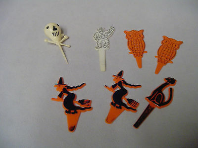 Halloween Plastic Owl, Trick Or Treat Man, Witch, Black Cat Decorations Retro
