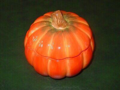 "FTD Ceramic Pumpkin Halloween Fall Thanksgiving Candy Dish Cookie Jar EUC 6 x 6"""
