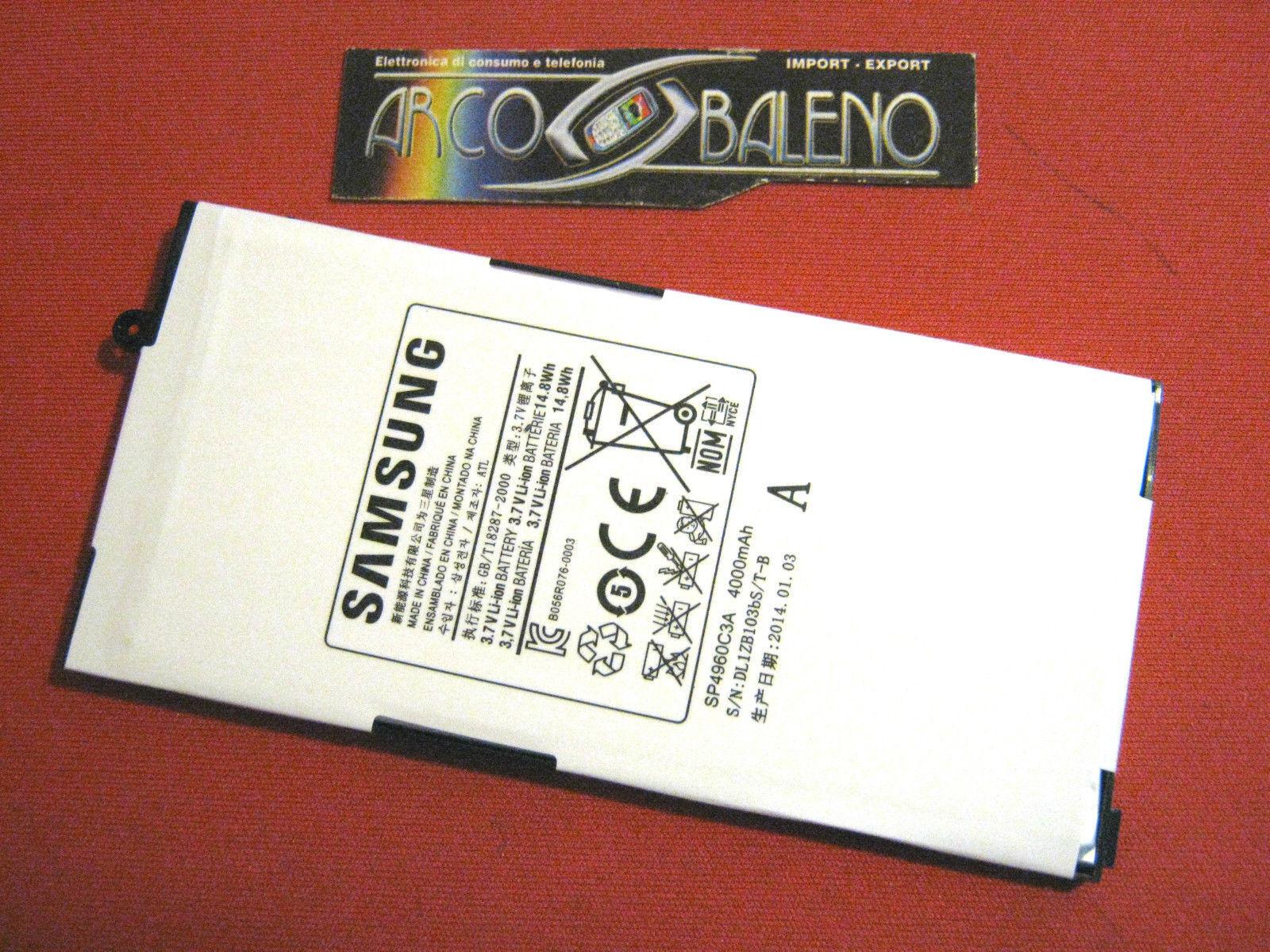 """C PRO1: Batteria 4000Mah ORIGINALE per SAMSUNG GALAXY TAB 7"""" GT P1000 SP4960C3A"""