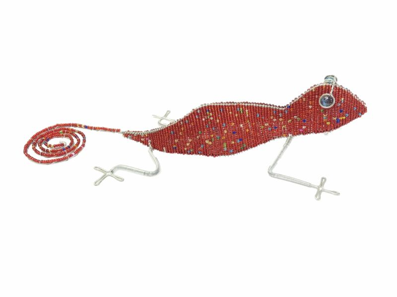 Beaded Wire Animal Gecko 21 inches Red