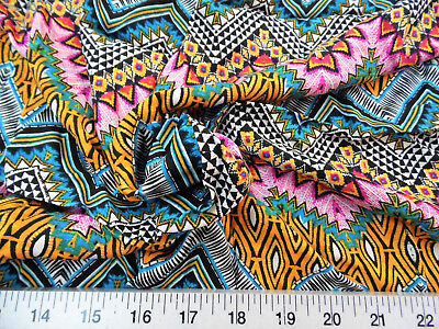Discount Fabric Challis Rayon Apparel Orange Pink Blue Aztec Chevron G304 - Pink Discount