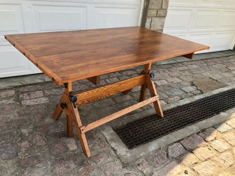 """Antique wooden drafting table (37-1/2"""" x 60"""") Hamilton"""