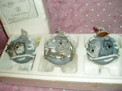 "NIB, ""BRADFORD EDITION EYES OF THE WILD HEIRLOOM GLASS 3~D ORNAMENT COLLECTION"""