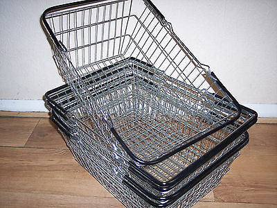 Pack of Five Wire Shopping Baskets Black Handles