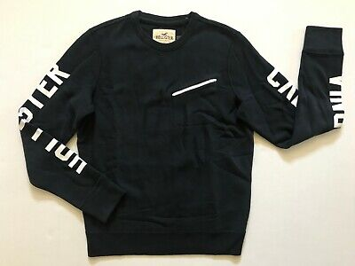 NWT Hollister By Abercrombie Men's Crew Neck Shirt Long Sleeve Navy Size M, L
