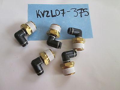 Lot Of 5 Smc 14 Ptc X 12 Nptf Elbow Fitting Connector Kv2l07-37s Air Push New