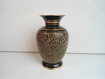 Vase, Messing mit Intarsierung