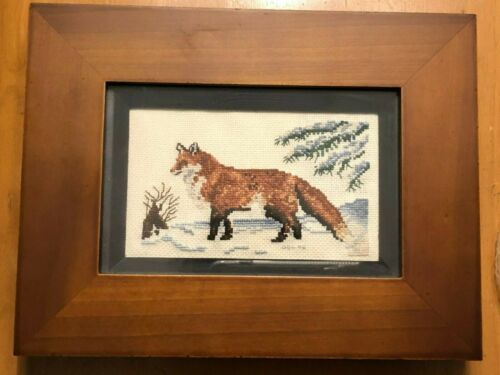 Finished Framed Small RED FOX in SNOW Cross Stitch 8.5 x 6.5""