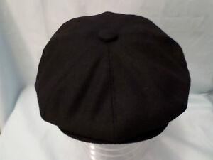 MENS-RETRO-BLACK-8-PANEL-BAKER-BOY-CAP-NEWSBOY-CABBY-PAPERBOY-HAT-XXL-AVAILABLE