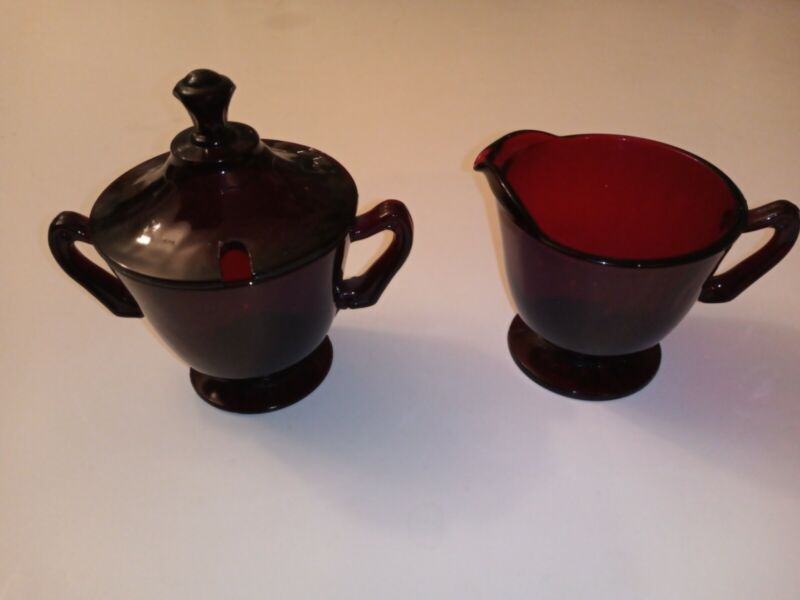 "1936-Anchor Hocking Royal Ruby Red Glass Footed Vintage Creamer & Sugar w Lid 4"""