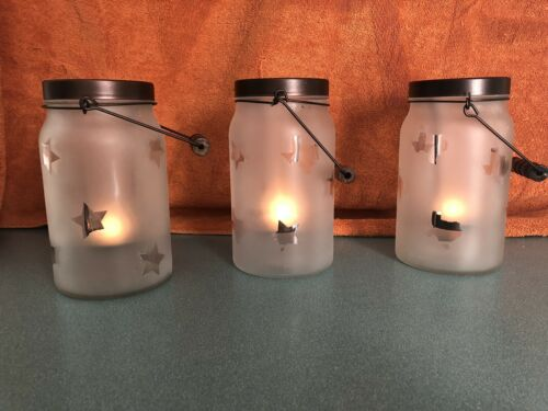 Glass Jar Lanterns Frosted Texas Shape And Star Tea light Ca
