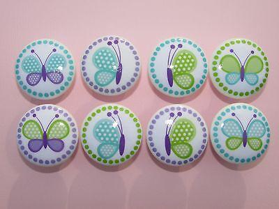 Set of 8 Girls Blue Purple Butterfly Dresser Drawer -