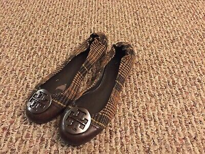 Tory Burch Leather Wool Logo Casual Ballet Flat Shoes Womens Size: 8M