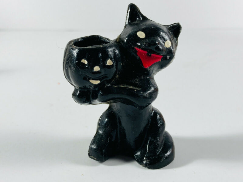 Antique VTG Halloween Black Cat w/ Pumpkin Jack-O-Lantern Candy Container