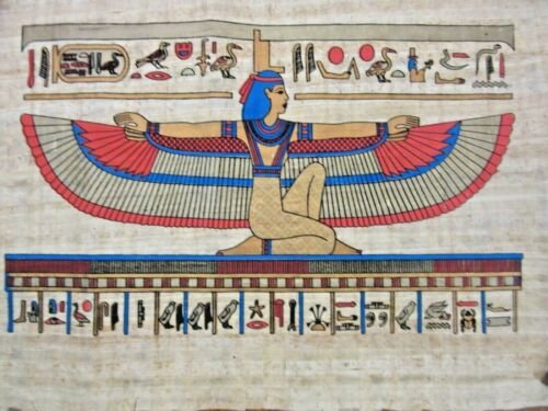 WINGED GODDESS ISIS GENUINE HAND PAINTED ON PAPYRUS FROM GIZA EGYPT EGYPTIAN ART