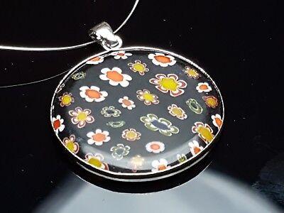 Glas Runder Anhänger (Halsketten Schmuck Anhänger Millefiori Glas schwarz rund 30 mm Blumen)