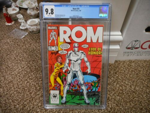 Rom 74 cgc 9.8 Marvel 1986 2nd to LAST ISSUE MINT WHITE pgs movie TV 1st print