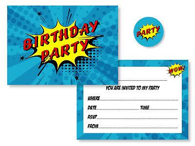 12 x Comic Superhero Birthday Party Invitations & Coloured Envelopes + Stickers](Superhero Birthday Invitations)