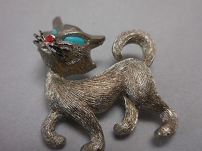 Vtg Jj Cat Kitten Brushed Silver T Faux Turquoise Eyes  Brooch Pin E2