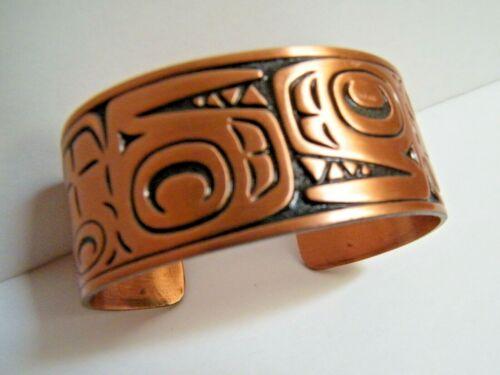 Tlingit Engraved Etched Copper CUFF Bracelet Vintage  Pacific Northwest Alaska