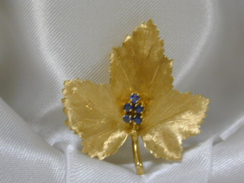 TIFFANY & CO ITALY 18K YELLOW GOLD SAPPHIRE LEAF PIN BROOCH~VINTAGE