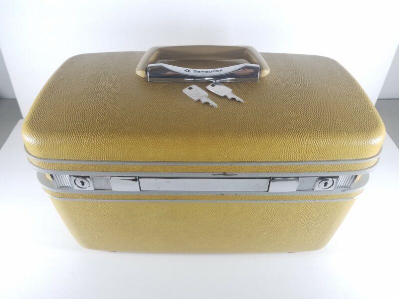 Vintage Samsonite Silhouette Travel Train Case Makeup Cosmetic Luggage KEYS