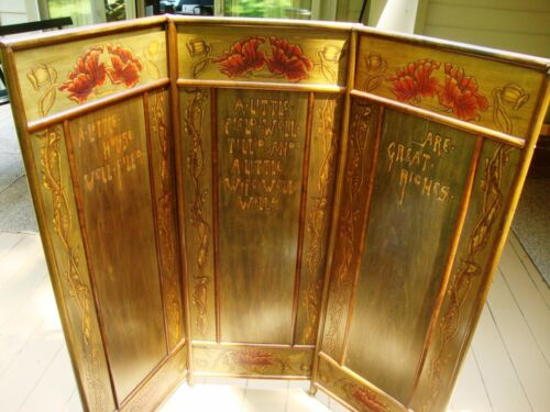 """Art Nouveau Hand Colored 3 Panel Screen Room Divider """"A little Wife well will"""