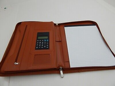 Cossini Superior Vegan Leather Business Portfolio With Zipper Padfolio Brown