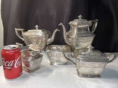 DOMINICK & HAFF NEW YORK STERLING SET OF FIVE (5) TEA AND COFFEE SERVICE
