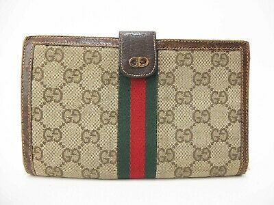 Authentic GUCCI Sherry Bifold Wallet GG Canvas Leather Vintage