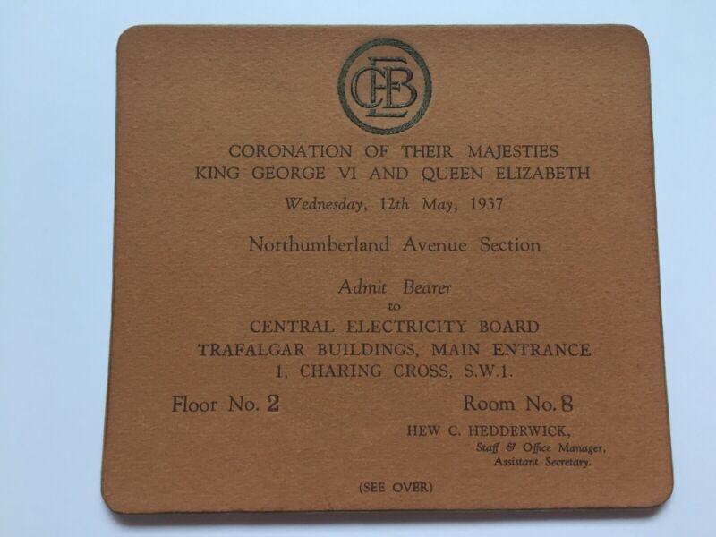 1937 Coronation His Majesty King George VI & Queen Elizabeth Ticket Pass