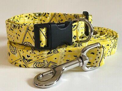 BRIGHT YELLOW BANDANA print Dog collar and leash set (you choose the size)