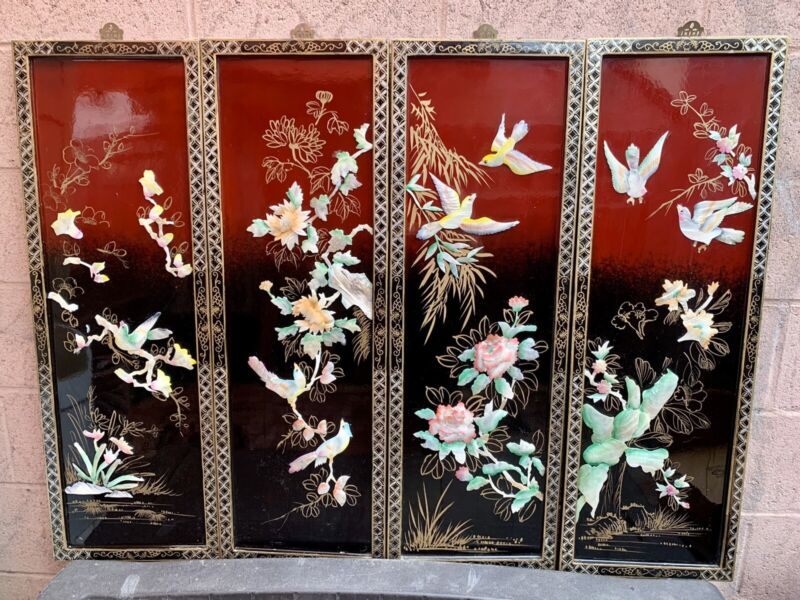 """Set 4 Vintage Asian Oriental MOTHER of PEARL SHELL BIRD LACQUER PANELS 12"""" x 36"""""""
