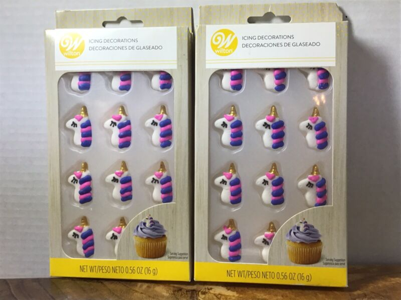 2 NEW Wilton UNICORN 12 Count Icing Decorations Cupcakes Cookies