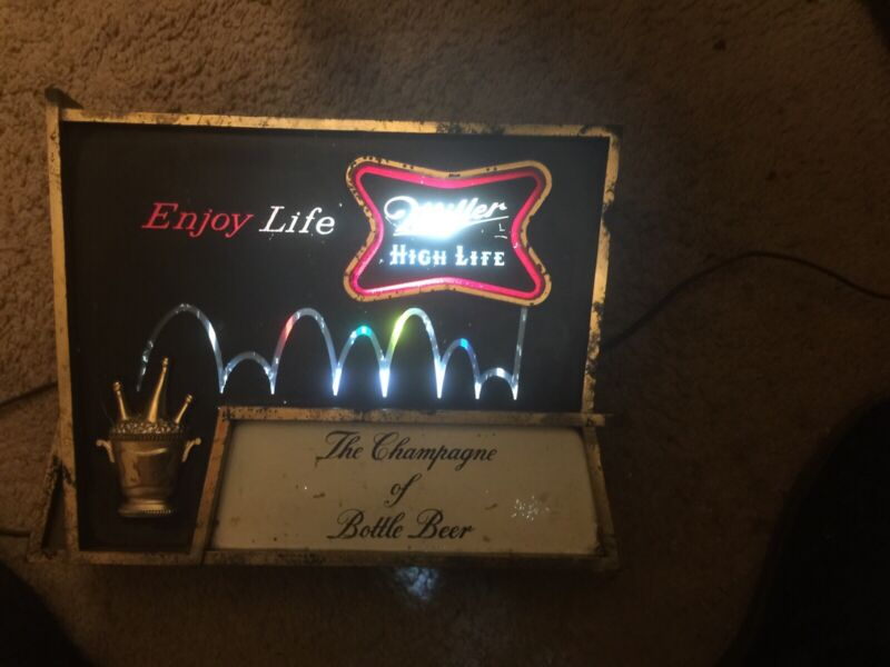 VINTAGE MILLER HIGH LIFE BEER MOTION SIGN LIGHTED (1959) RARE SOLD AS IS